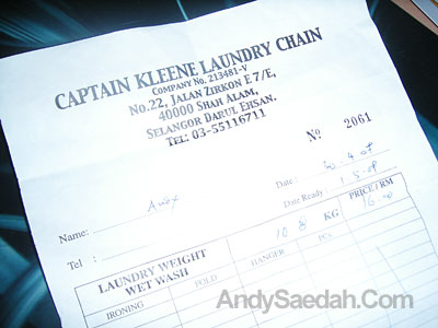 Laundry Receipt