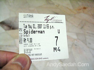 Spiderman 3 Movie Ticket