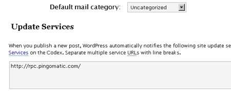 Update Services in WordPress